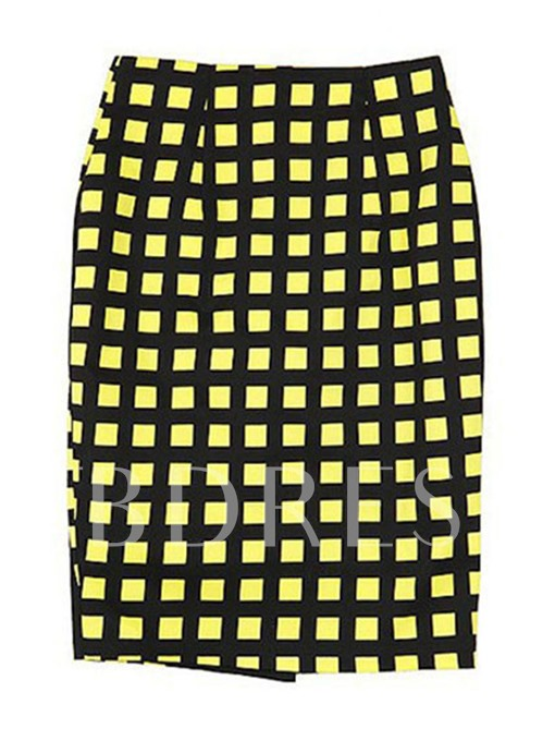 High-Waist Color Block Women's Pencil Skirt