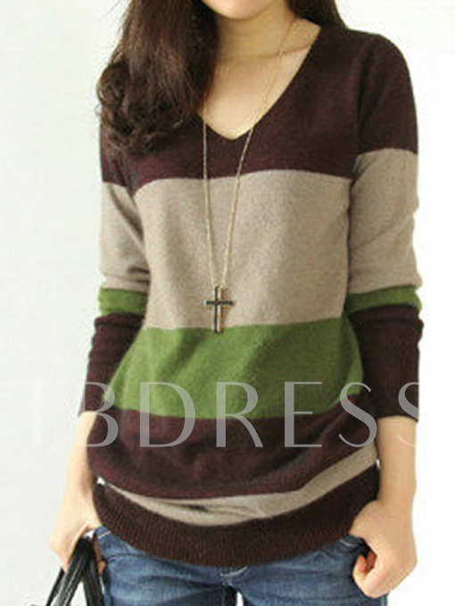 Mid-Length Color Block V-Neck Women's Sweater