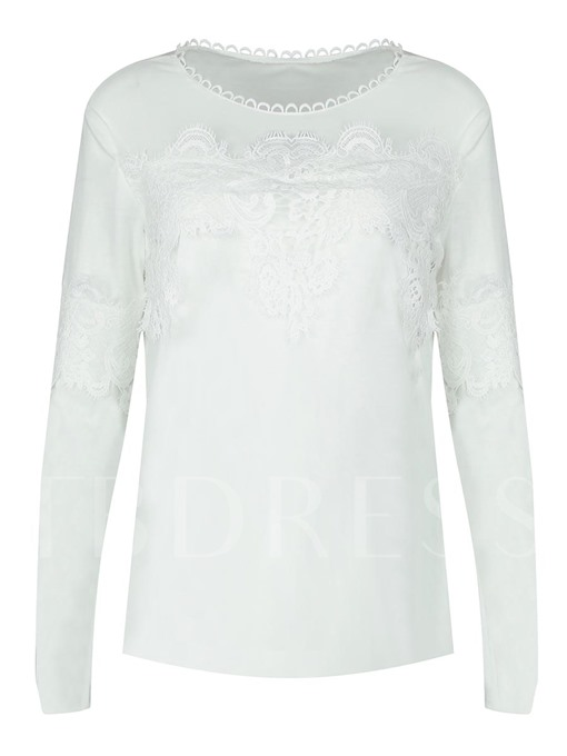 Sexy Hollow Lace Patchwork Slim Women's T-Shirt