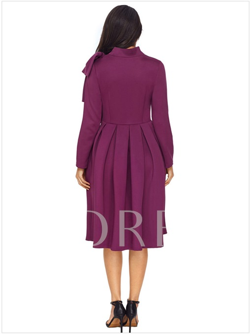 Solid Color Knot Women's Day Dress