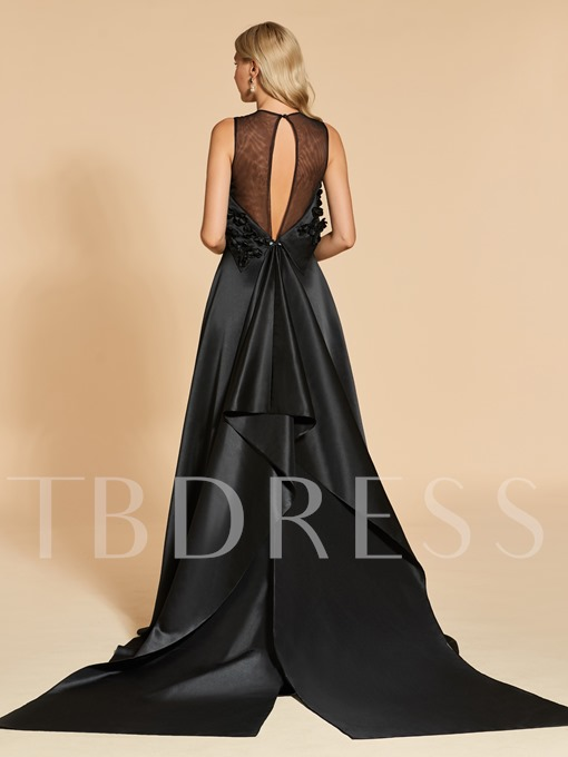 A-Line Appliques Scoop Asymmetry Evening Dress