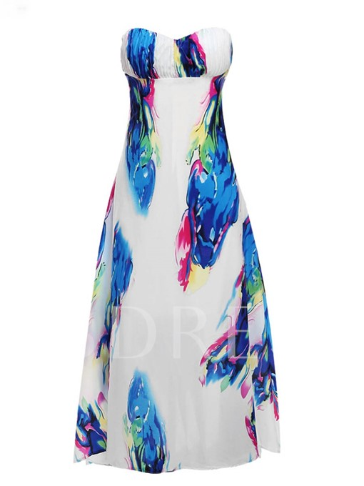 Printing Strapless Women's Maxi Dress