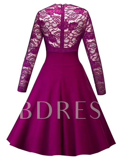 V Neck Lace Sleeve Women's Day Dress