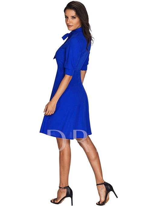 Half Sleeve Tie Neck Women's Day Dress
