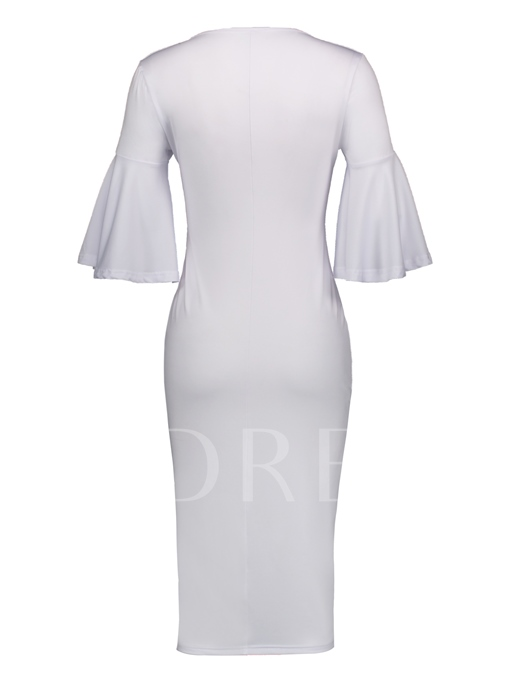 V-Neck Flare Sleeve Women's Bodycon Dress