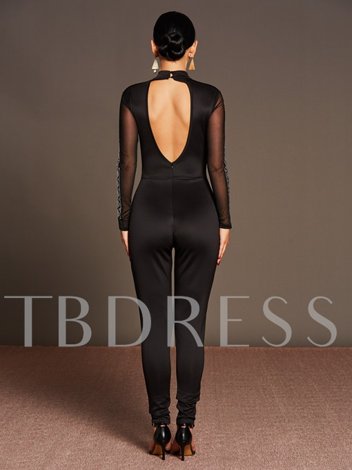 Black Tight Perspective Backless Long Sleeve Women's Jumpsuits