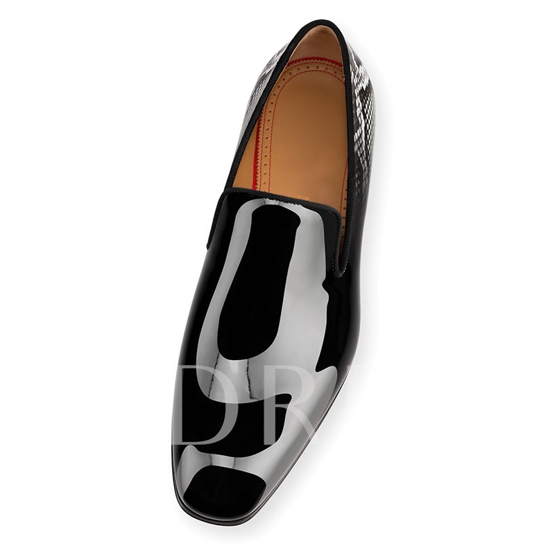 Serpentine Patent Leather Black Dress Shoes for Men