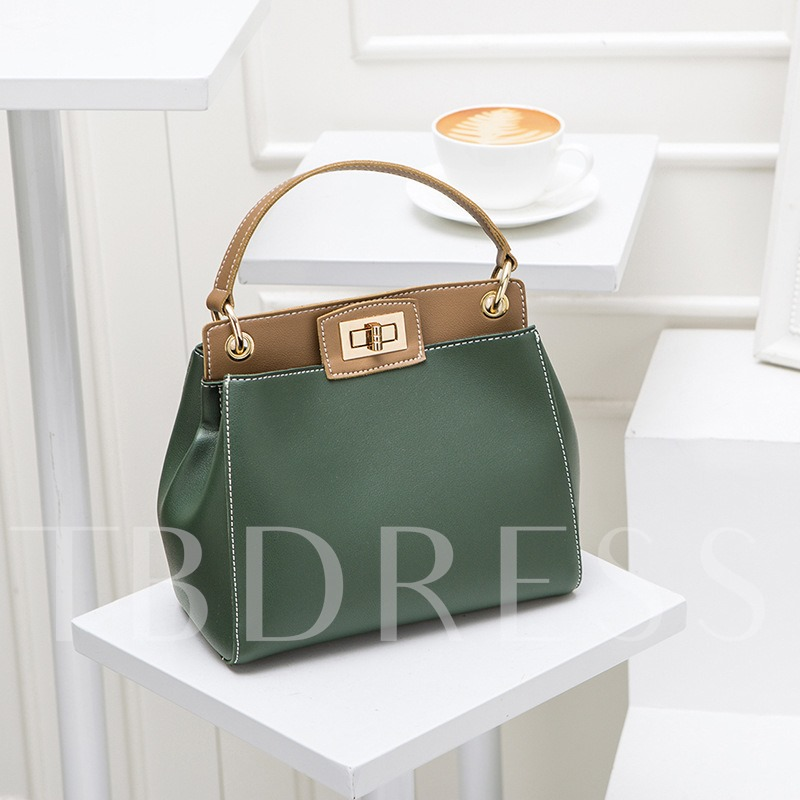 Trendy Color Block Latch Women Tote