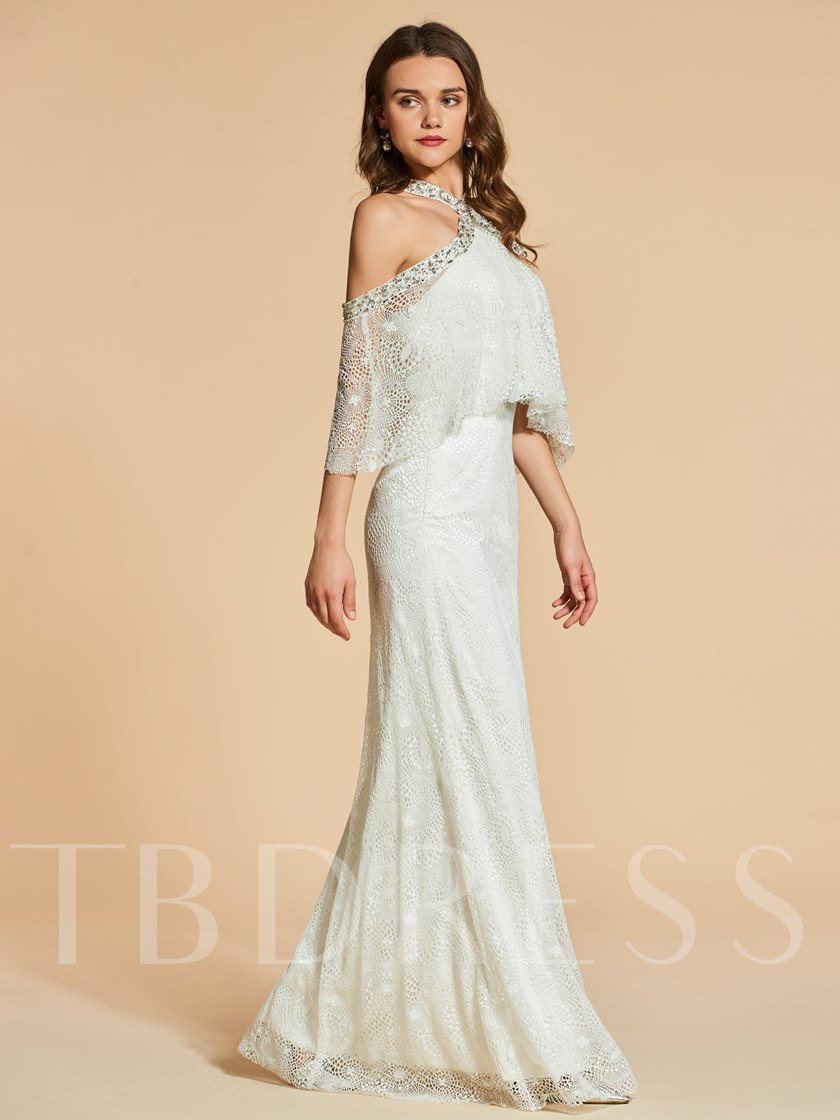 Sheath Lace Beading Jewel Floor-Length Evening Dress
