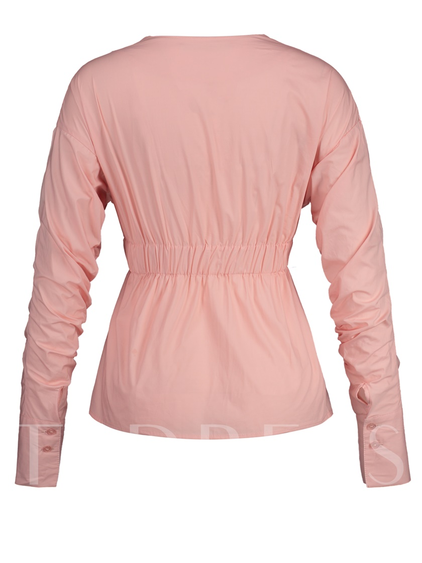 V-Neck Pleated Plain Pullover Women's Blouse