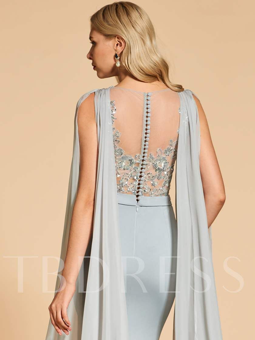 Sequins Appliques Button Mermaid Evening Dress