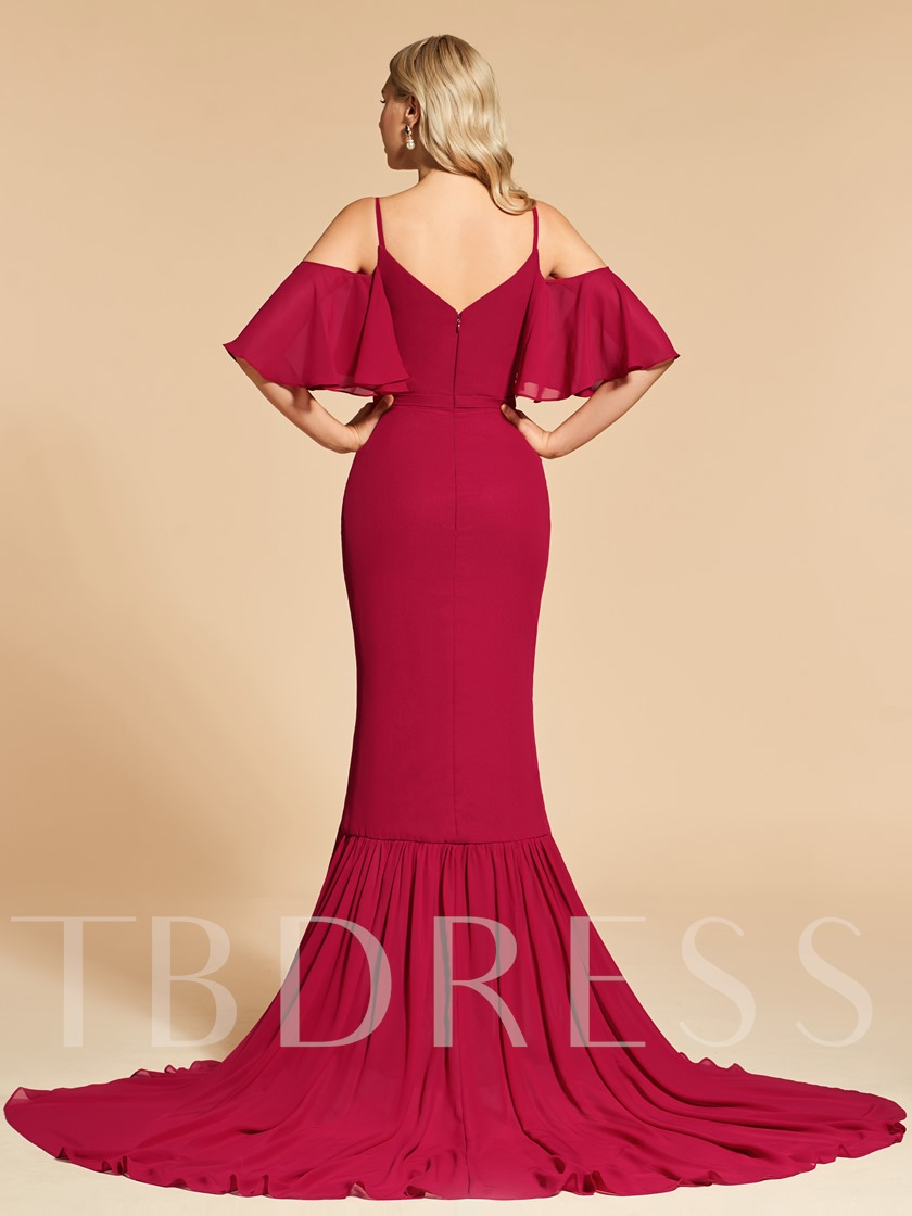Open Shoulder Trumpet Beading Evening Dress