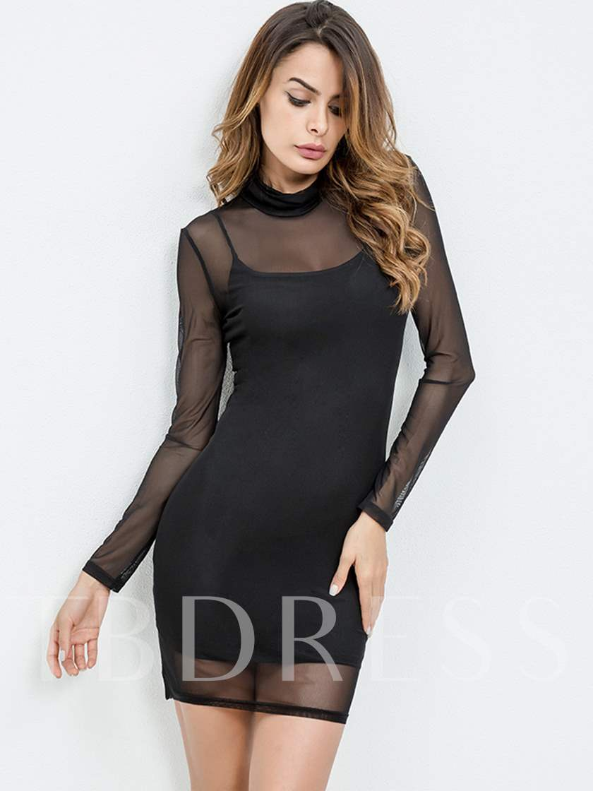 Turtleneck See Through Women's Two Piece Dress