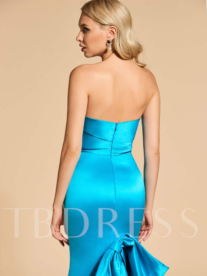 Strapless Bowknot Ruffles Mermaid Evening Dress