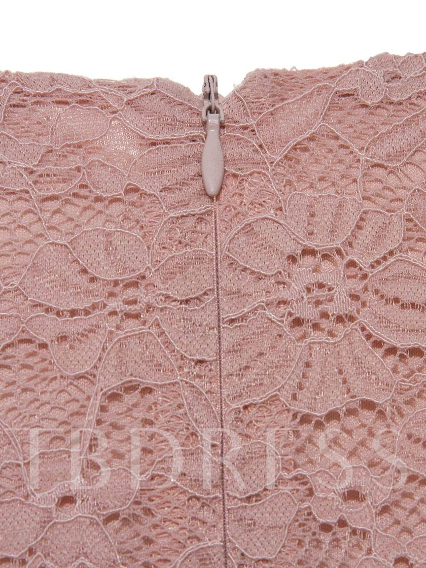 Pink Plus Size Women's Lace Dress