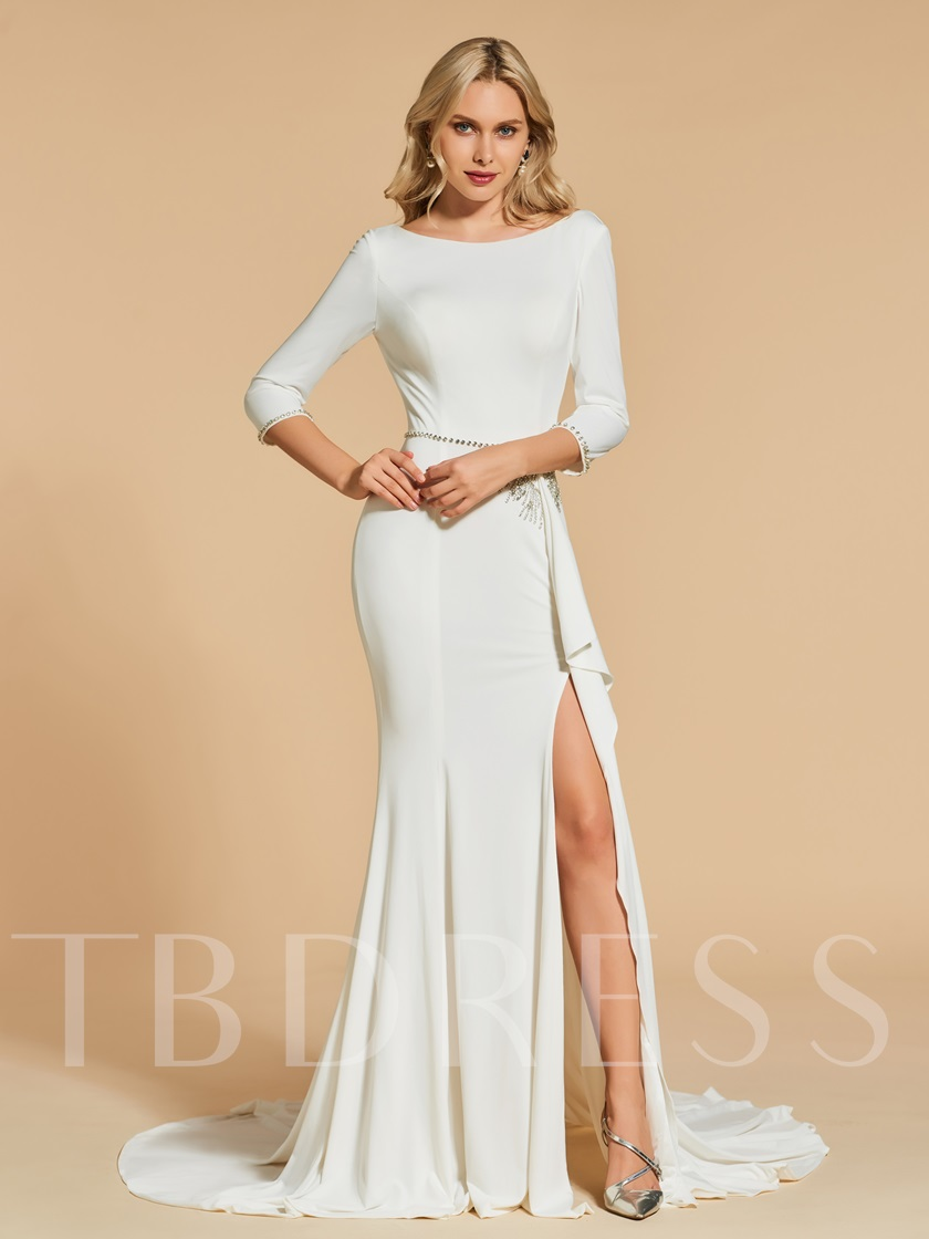 Bateau Trumpet Beading Split-Front Court Train Evening Dress