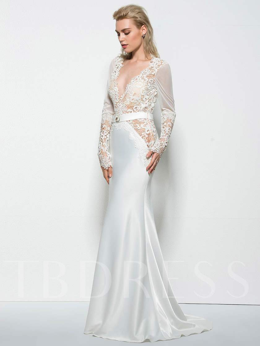 Mermaid V-Neck Hollow Lace Long Sleeves Evening Dress