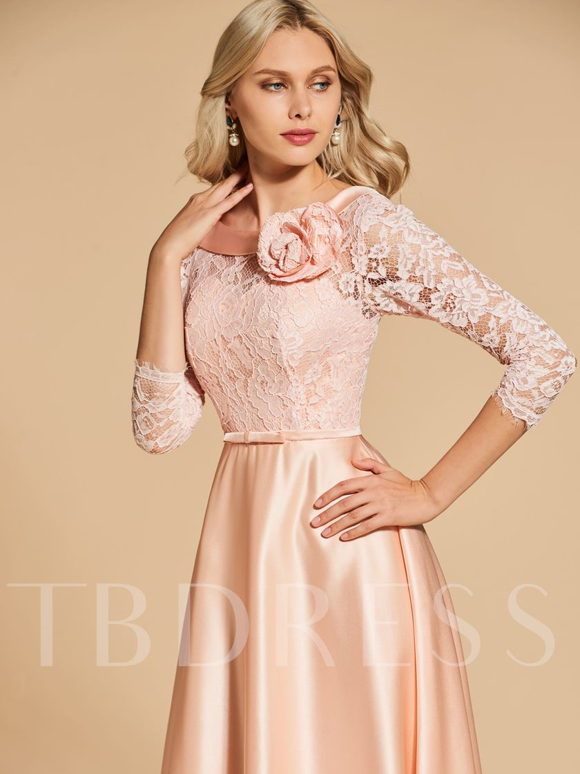 A-Line Embire Bowknot Lace Pockets Sashes Evening Dress