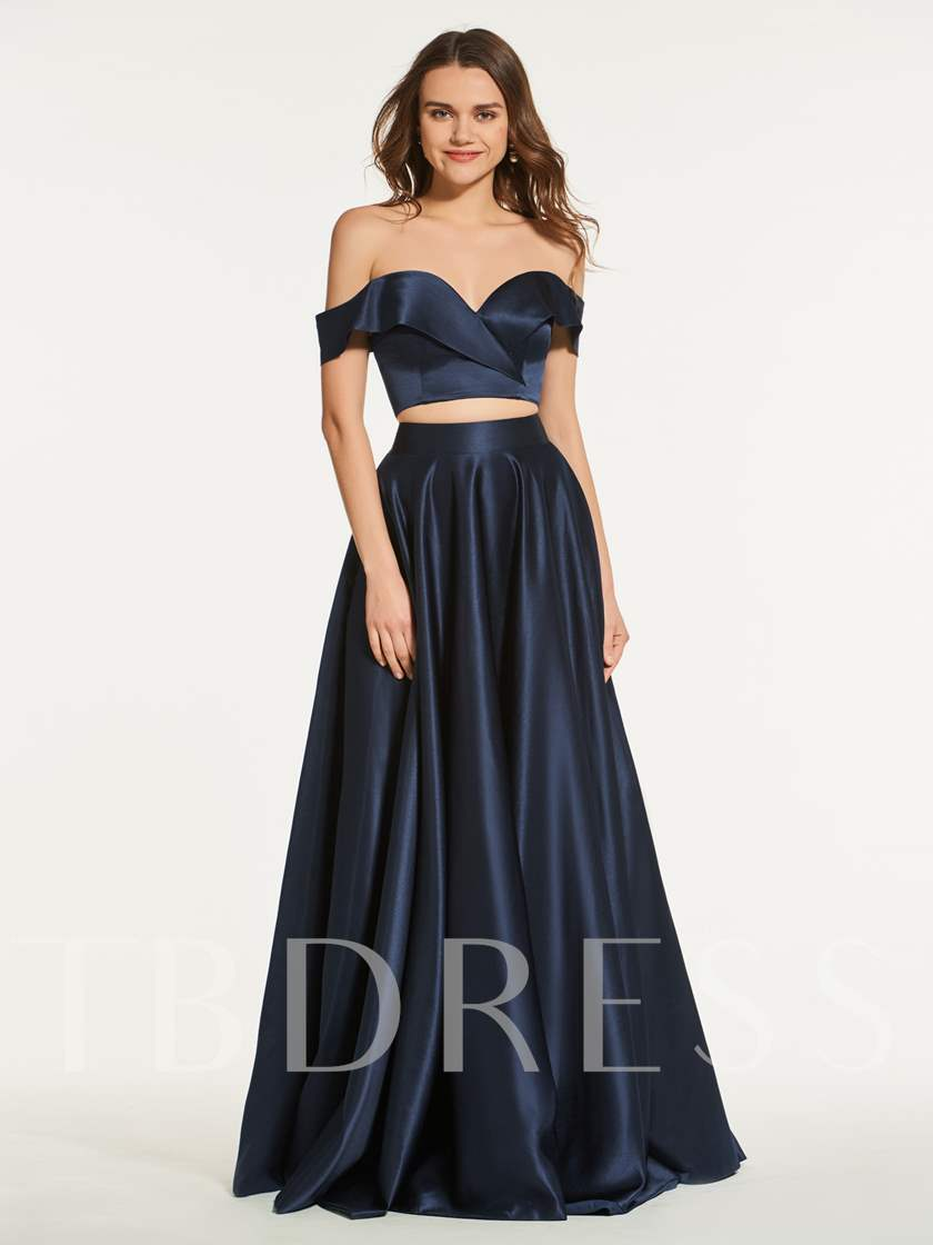 Two Pieces A-Line Off-the-Shoulder Prom Dress