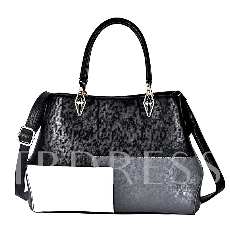 Fashion Color Block Zipper PU Tote