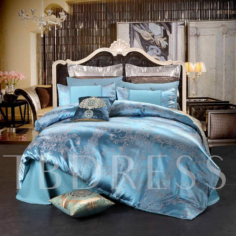 Light Blue Floral Jacquard Luxury Style Cotton Silky 4-Piece Bedding Sets/Duvet Cover