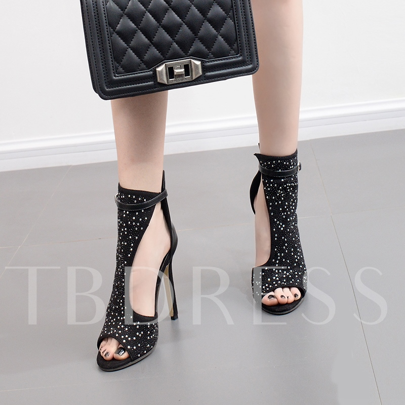 Black Suede Rhinestone High Heel Pumps Shoes for Women