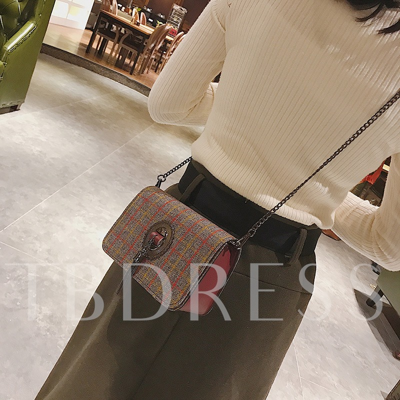 Classical Plaid Pattern Cross Body Bag