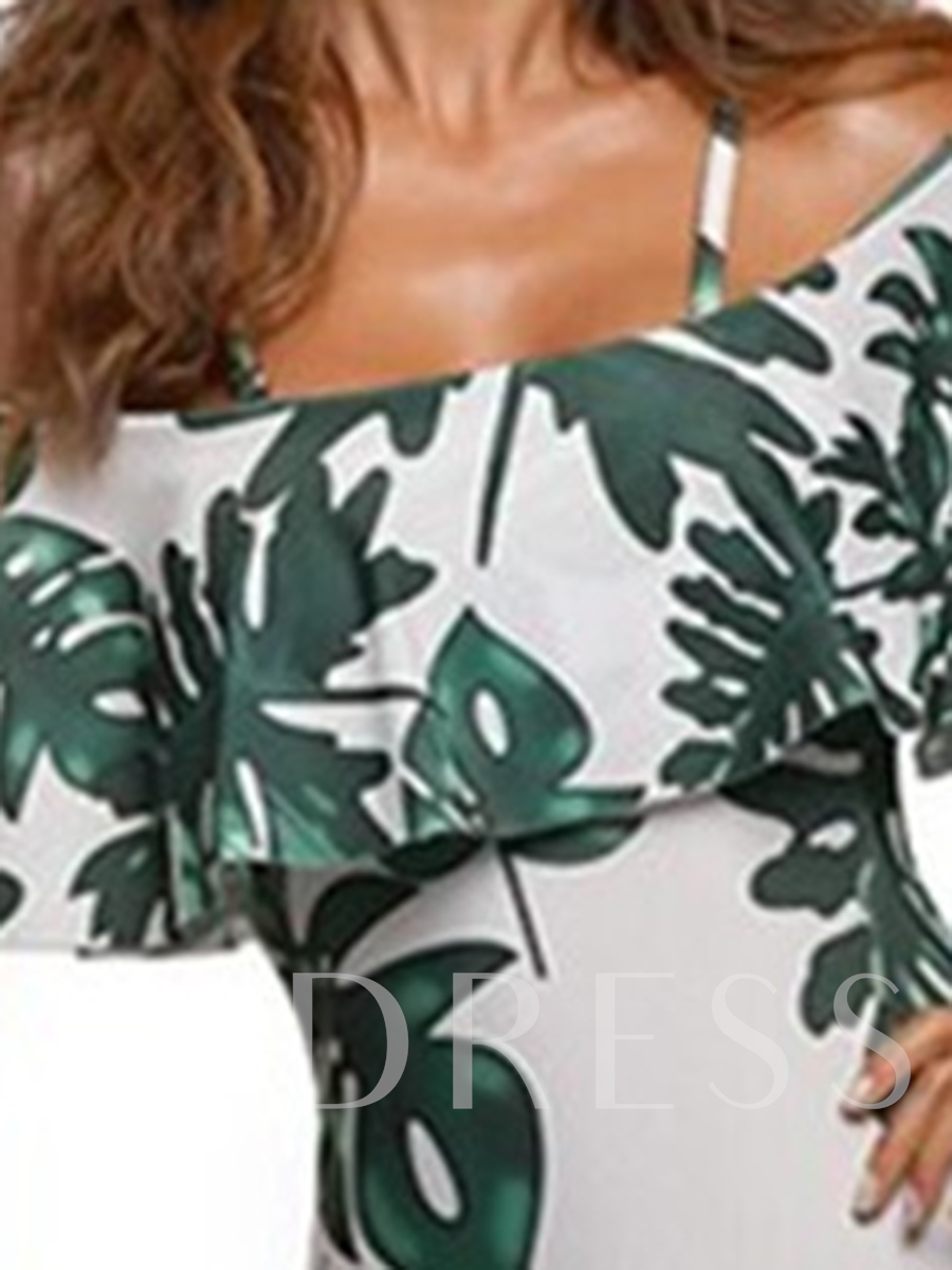 Leaf Print Off-The-Shoulder Falbala One-Piece Swimsuit