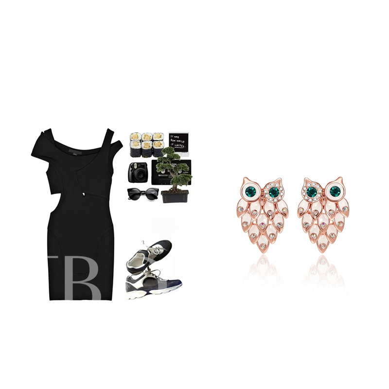 Diamante Alloy Owl Shaped Jewelry Sets