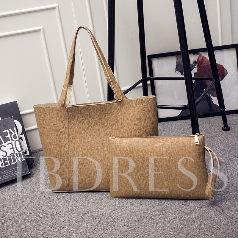 Casual Solid Color Soft PU Women Tote