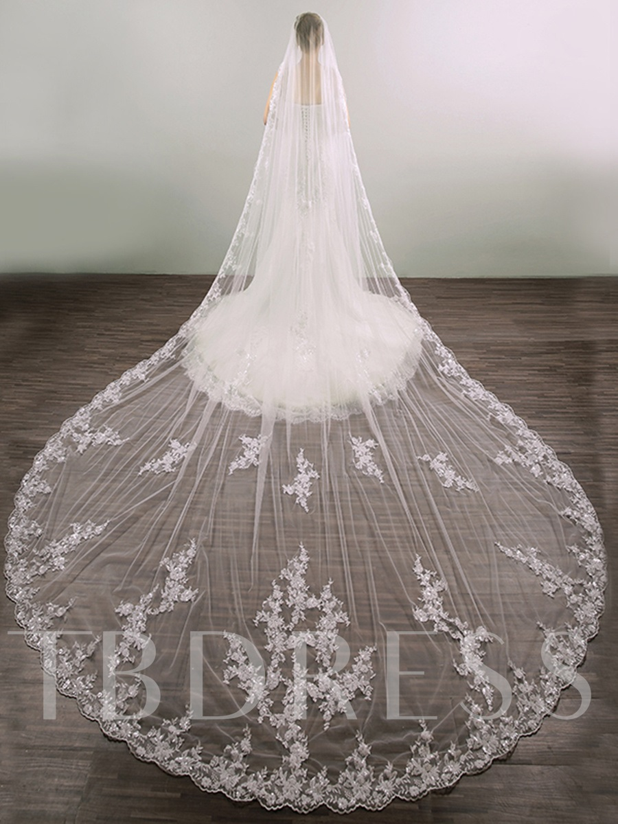 Appliques Edge Cathedral Train Bridal Veil