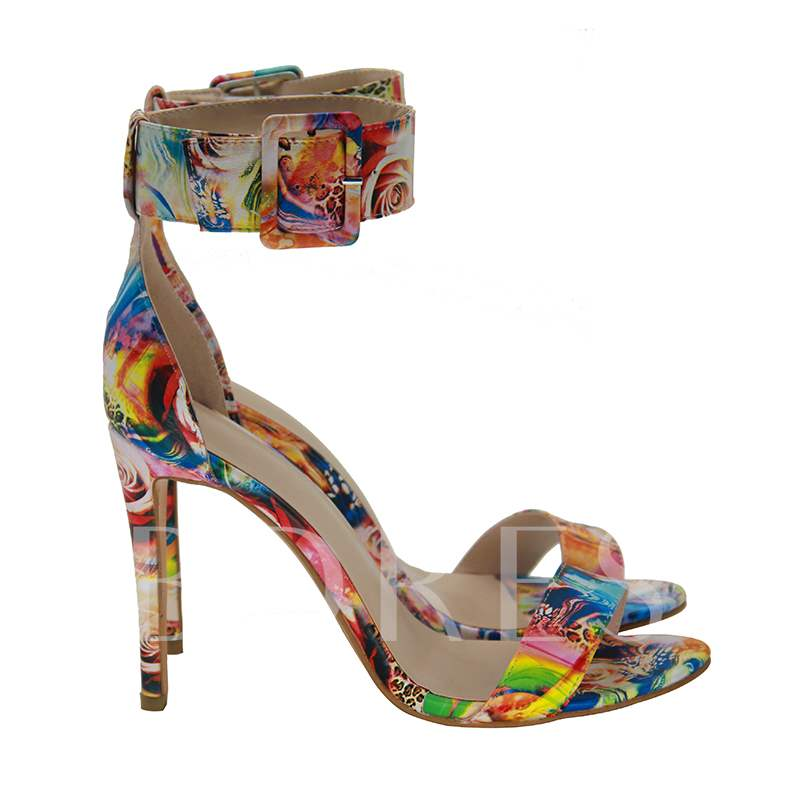 Colorful Cloth Buckle High Heel Sandals Ladies