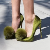 Green Pom Pom High Heel Women's Chic Pumps