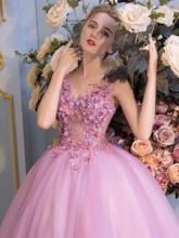 Appliques Flowers Pearls V-Neck Quinceanera Dress