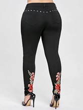 Plus Size Floral Embroidery Women's Casual Pants