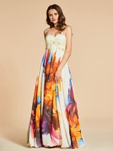 A-Line Sweetheart Beading Printed Empire Evening Dress