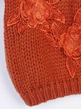 Round Neck Appliques Vacation Women's Sweater