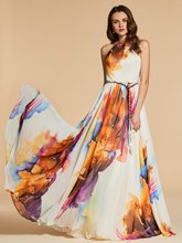 A-Line Sashes Jewel Printed Long Evening Dress