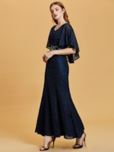 Scoop Neck Half Sleeves Lace Mermaid Evening Dress