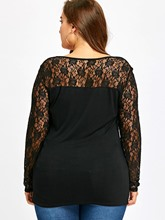 Lace Patchwork Plus Size See-Through Women's T-Shirt
