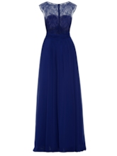 Beaded Scoop Neck Lace Long Evening Dress