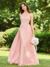 Halter Backless Long Lace Bridesmaid Dress