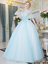 Beading Flowers Pearls V-Neck Quinceanera Dress