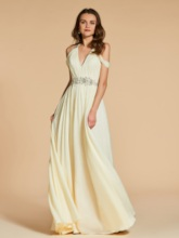 A-Line Open Shoulder Beading Pleats Floor-Length Evening Dress