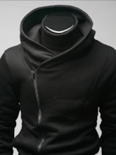 Stand Collar Zip-Front Long Sleeve Men's Hoodie