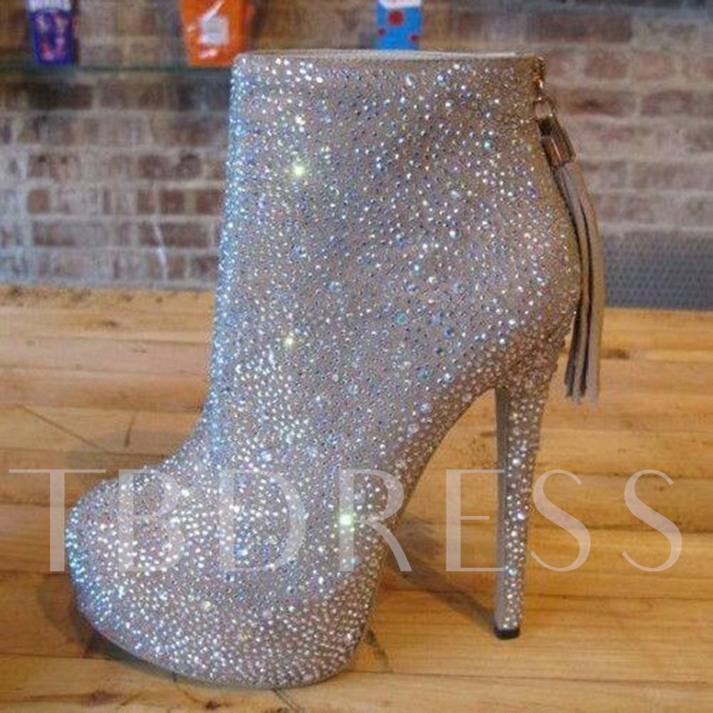 Image of Full Rhinestone Platform High Heel Boots Wedding Shoes