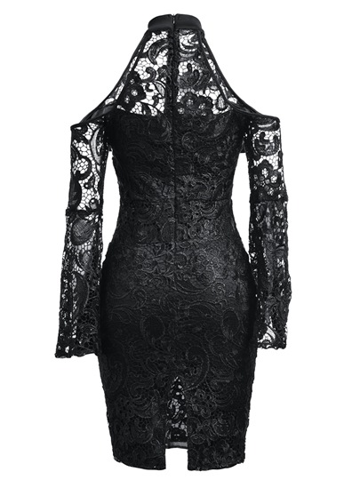 Cold Shoulder Bell Sleeve Women's Lace Dress