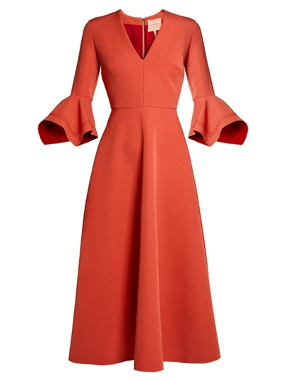 Bell Sleeve Orange Red Women's Day Dress