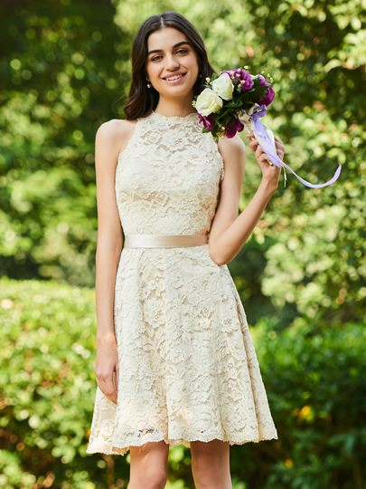 Sashes Short Lace Bridesmaid Dress