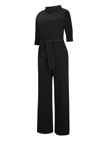 Plain Wide Legs Lace-Up Women's Versatile Jumpsuits